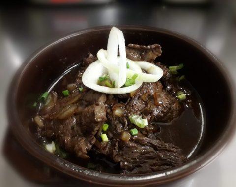 Bistek Tagalog (Rindersteak mit Reis)