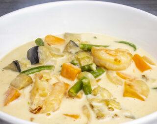 Crevetten, Gemüse, Kokosnuss-Sauce